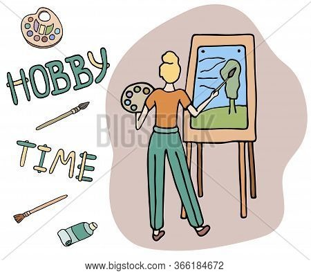 Painter Drawing On Easel. Hand Drawn Colored Doodle Vector Illustration. . Woman Artist With Palette