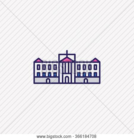 Vector Illustration Of Buckingham Palace Icon Colored Line. Beautiful Culture Element Also Can Be Us