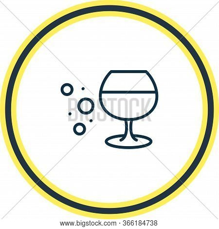 Vector Illustration Of Cognac Glass Icon Line. Beautiful Beverages Element Also Can Be Used As Whisk