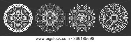 Set Of Four Abstract Circular Ornaments. Decorative Patterns Isolated On Black Background. Tribal Et