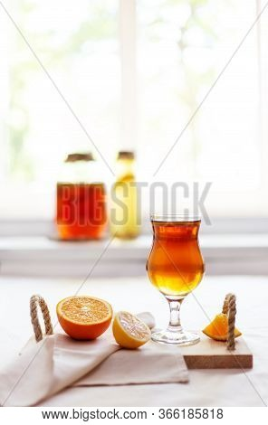 Homemade Fermented Raw Kombucha Tea With Different Flavorings. Healthy Natural Probiotic Flavored Dr