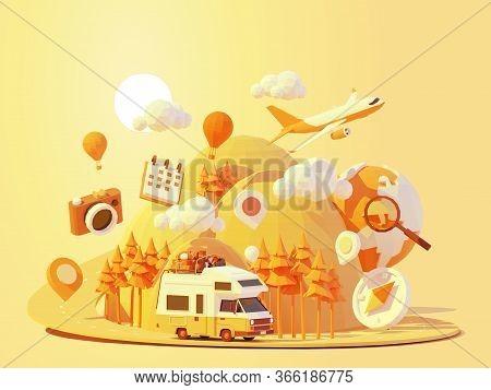 Vector Camper Van Travel Summer Adventures Illustration. Retro Caravan Road Trip. Road Between Mount