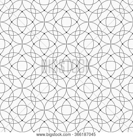 Abstract Seamless Pattern Of Intersecting Circles. Modern Stylish Texture. Linear Style. Dots At Int