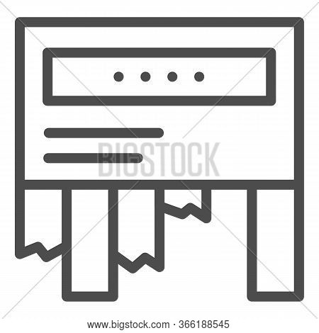 Tear-off Ad Line Icon. Tear Off Paper Notice On The Wall Symbol, Outline Style Pictogram On White Ba
