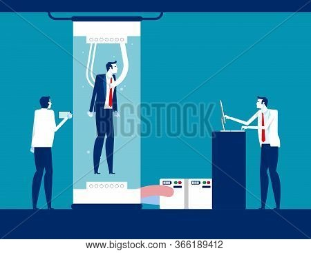 Scientists Watching Human Being In Big Glass Capsule. Human Cloning Concept