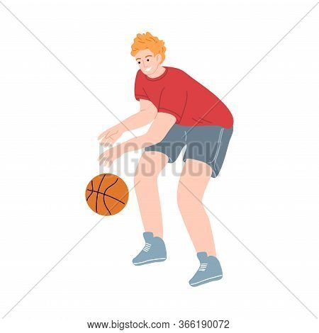 Male Basketball Player In A Red T-shirt Dribbling The Ball By Hand. Vector Illustration In The Flat
