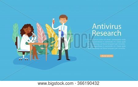 Scientists Research Coronavirus Antivirus Vaccine, Experiment In Lab, Working In Scientific Chemical
