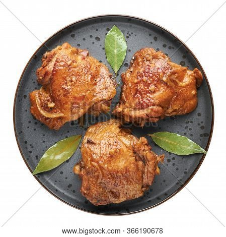 Filipino Chicken Adobo On Dark Gray Plate Isolated On White Backdrop. Chicken Adobo Is Filipino Cuis