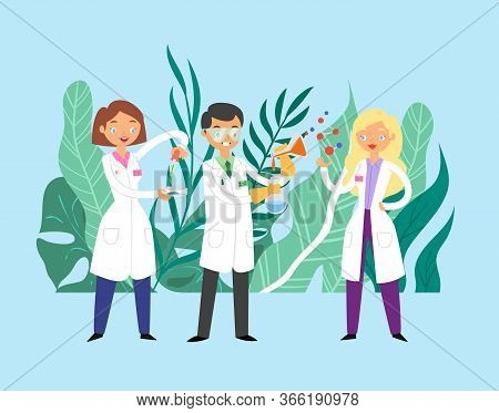Scientists Doctors Communication, Team Of Doctors Working Together, Science And Medicine Flat Vector