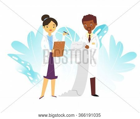 Hospital Medical Doctors Male And Female Medicine Workers Physicians With Stethoscope And Cardiogram
