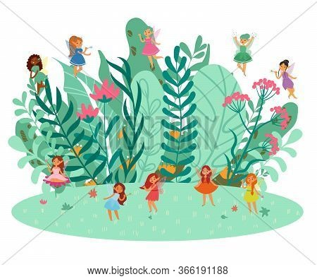 Cute Fairies Fantasy Girls In Pretty Dresses Flying In Green Grass And Flowers, Magic Girly Cartoon