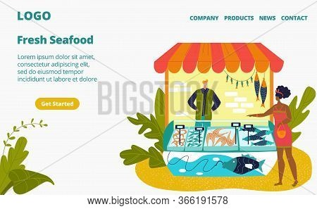 Seafood Stall And Fresh Fish Street Shop Store Market With Sea Food In Fridge, Seller And Customer W