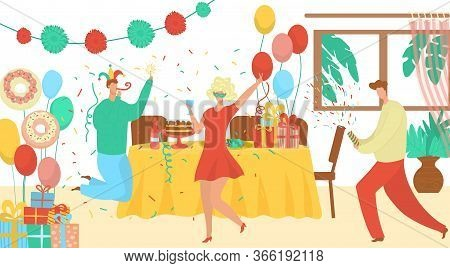 Birthday Party Event Agency Offer Flat Vector Illustration With Clowns, Decorations, Gift Boxes. Spe