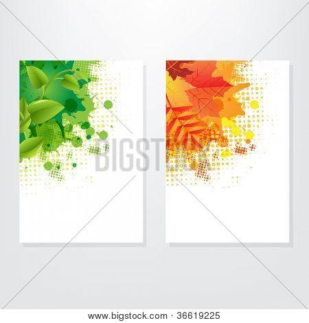 Set Card Wit Leaf, Isolated On Grey Background, Vector Illustration
