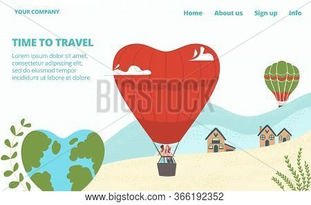 Hot Tour For Lovers, Tourism With Hot Air Baloons In Sky And Young Couple Man And Woman In Basket In