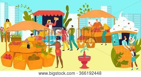 Market Stalls With Farmers Selling Vegetables And Fruits, Street Food Festival Flat Vector Illustrat