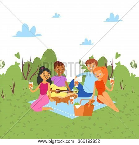 Picnic Outdoor In Nature Or Park, Weekend With Family And Friends Together Party Cartoon Vector Illu