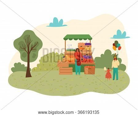 Summer Park With Food Festival For Family Time Concept Isolated On White Vector Illustration. People
