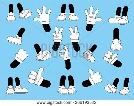 Cartoon Legs And Hands On A Blue Background. Comic Legs In Boots And Hands In White Gloves.