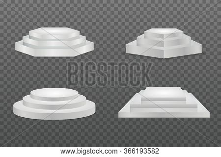 Podium Realistic. Round And Square Empty Stages And Podium Stairs Vector 3d Template. White Cylinder