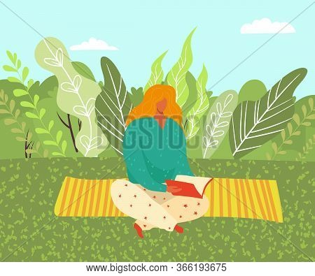 Woman Sitting On Grass In The Park On Yoga Matt And Reading A Book On Nature Flat Vector Illustratio