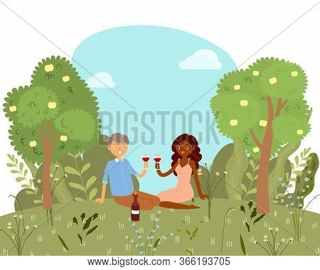 Love Picnic For Happy Couple With Wine In Park, Nature Outdoor, Romantic Date Cartoon Vector Illustr