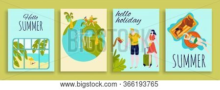 Travel, Vacation, Summer Holidays Banners Set, Tourists, Travelers With Luggage On Globe, Sunbathing