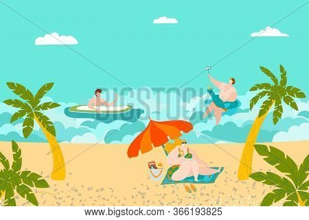Summer Rest On Beach, People Swimming And Sunbathing, Tropical Palms And Sand, Ocean Seaside Flat Ve