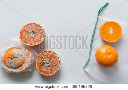 Comparison Of Food Storage In Plastic And Mesh Bag On Example Of An Orange. Invalid Storage.