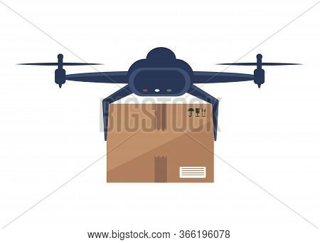 Drone delivers boxes . Non-contact delivery concept. Remote air drone with boxes. Contactless express delivery service. Self-isolation lifestyle. Contactless delivery during quarantine. Contactless delivery concept illustration. Vector scene with courier