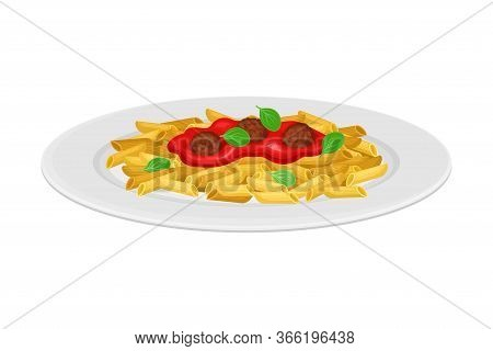 Italian Pasta With Shaped Alimentary Products With Meatballs And Tomato Sauce Vector Illustration