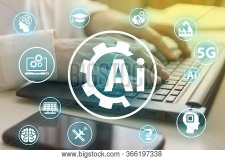 Artificial Intelligence And Icons. Industrial Brain Gears Web Development Ideas, Concepts. The Conce