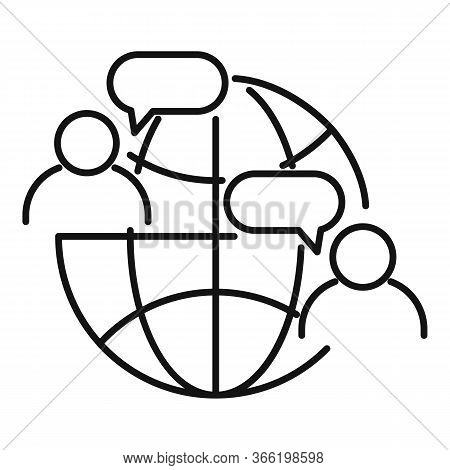 Global Advice Icon. Outline Global Advice Vector Icon For Web Design Isolated On White Background