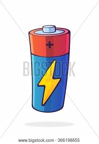 Vector Illustration. Alkaline Battery With Charging Electric Lightning Symbol. Power Technology. Ene