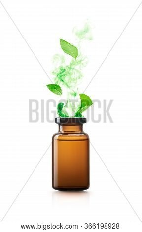Peppermint Essential Oil Isolated On White Background