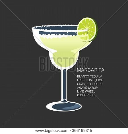 Margarita Cocktail Glass Tequila Lime Salt Vector Illustration