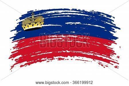 Liechtenstein Torn Flag In Grunge Brush Stroke, Vector