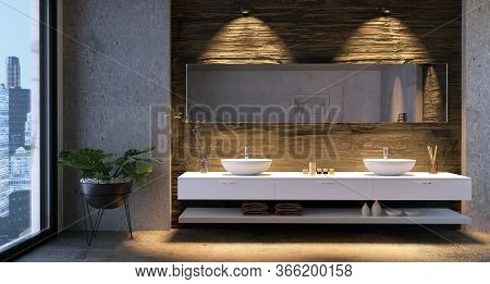 3d Illustration Of Luxury Urban Bathroom Vanity With Low Key Stone Textures. City Buildings In Backg