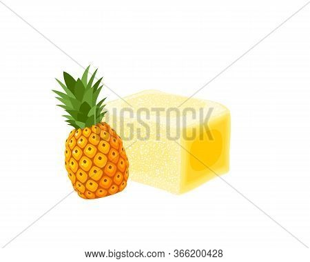 Turkish Delight, Lokum. Traditional Oriental Sweet Candy With Pineapple. Vector Illustration Cartoon