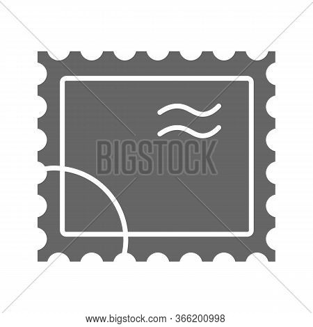 Postal Stamp Solid Icon, Delivery Symbol, Paper Retro Post Stamp Vector Sign On White Background, Po
