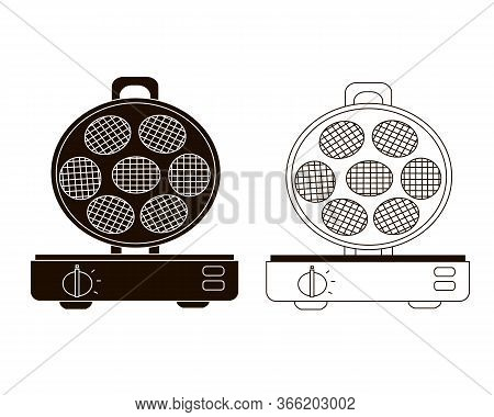 Waffle-iron Vector Flat Illustration. Set Of Two Waffle Iron Options.. Icon On A White Background.