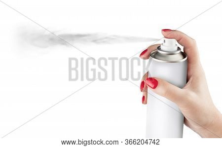 Woman Spraying Paint From Can On White Background. Aerosol Spray Can, Metal Bottle, Paint Can. Isola