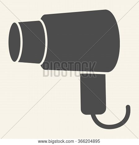 Hair Dryer Solid Icon. Hairdryer Or Blow Dryer Symbol, Glyph Style Pictogram On Beige Background. Ho
