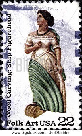 02 10 2020 Divnoe Stavropol Territory Russia The Postage Stamp United States 1986 American Folk Art