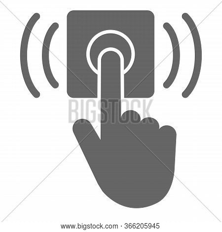 Ring Door Bell Solid Icon, Delivery Symbol, Hand Push Bell Button Vector Sign On White Background, F
