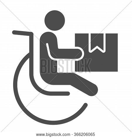Disabled Person With Parcel Box Solid Icon, Delivery Service Symbol, Human Figure In Wheelchair With