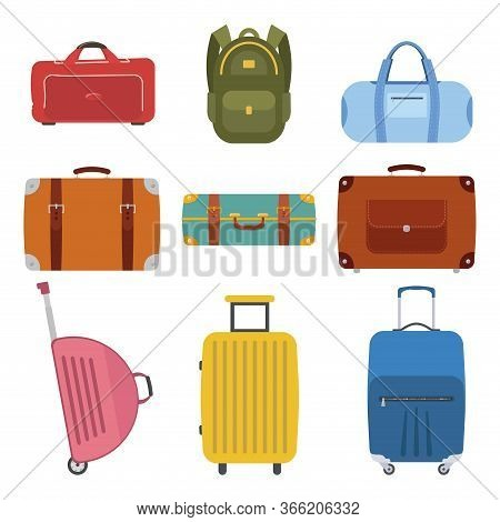 A Collection Of Luggage Icons For Travel. Different Types Of Baggage. Bags, Tourist Suitcase, Luggag