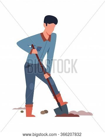 Digging Man In Garden. Person In Backyard Lawn With Dig, Isolated Vector Cartoon Professional Garden