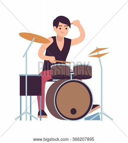 Drummer. Young Man Playing On Drums, Vector Cartoon Rock And Pop Drumming Musician And Instrument
