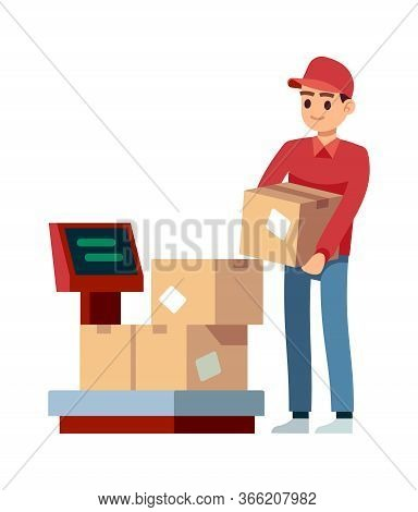Warehouse. Man Puts Boxes On Scales In Industry Offices, Isolated Vector Comcept Of Delivery Service